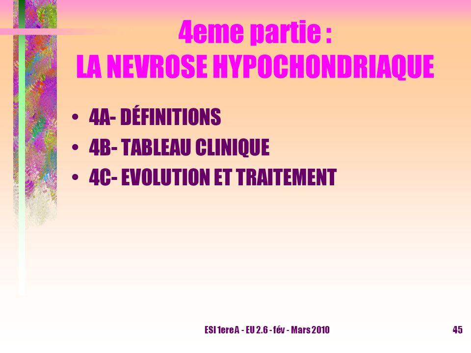 4eme partie : LA NEVROSE HYPOCHONDRIAQUE