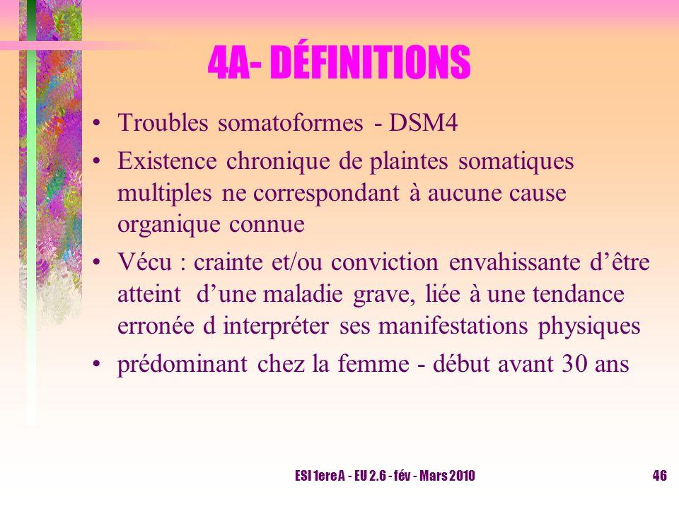 4A- DÉFINITIONS Troubles somatoformes - DSM4