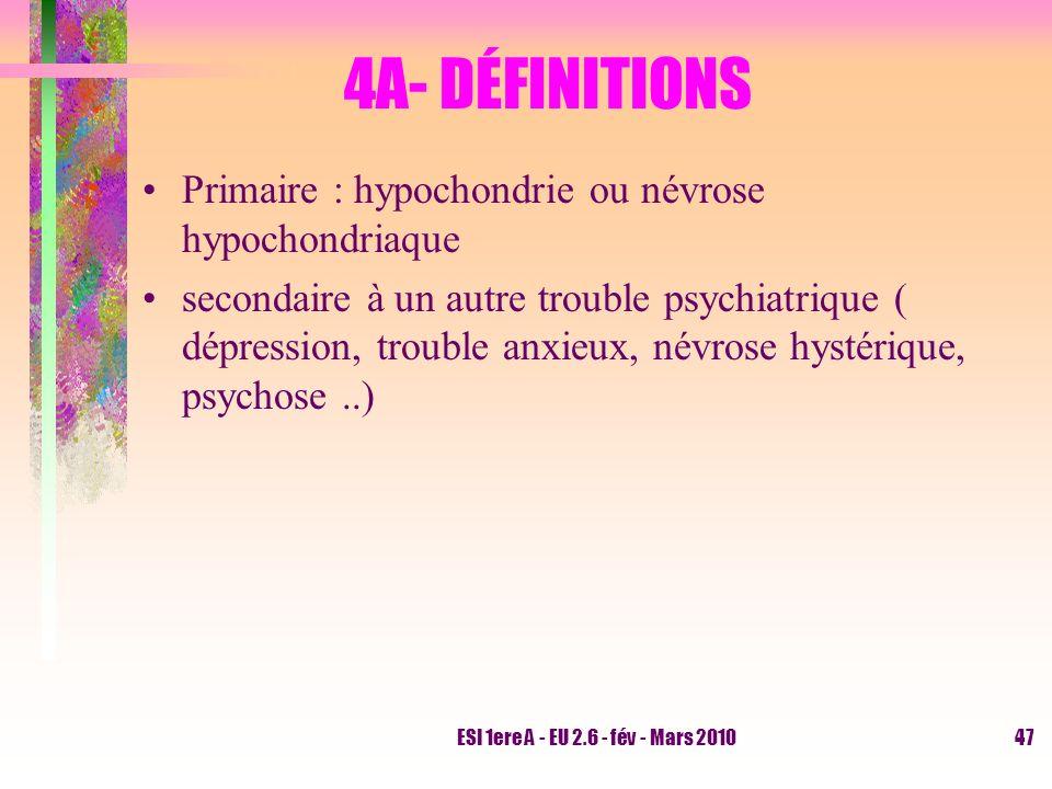4A- DÉFINITIONS Primaire : hypochondrie ou névrose hypochondriaque