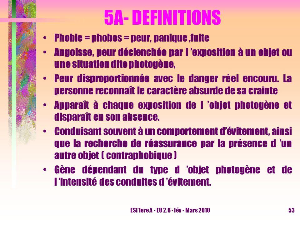 5A- DEFINITIONS Phobie = phobos = peur, panique ,fuite