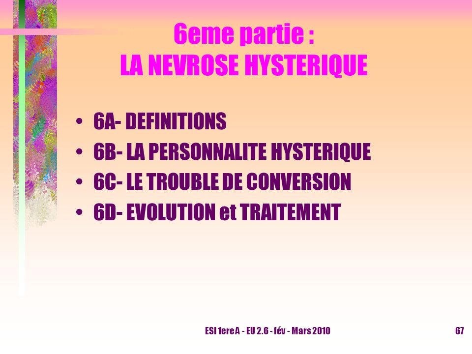 6eme partie : LA NEVROSE HYSTERIQUE