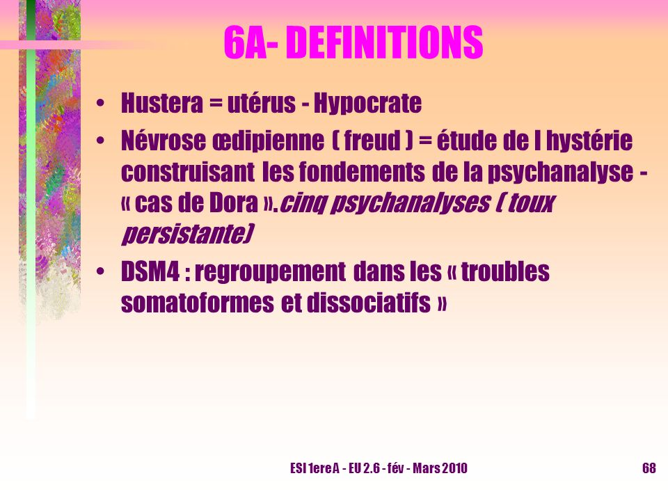 6A- DEFINITIONS Hustera = utérus - Hypocrate