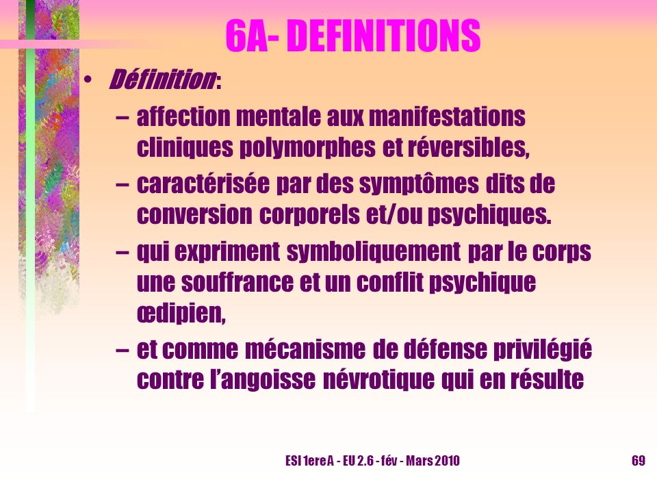 6A- DEFINITIONS Définition :