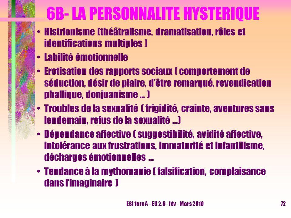 6B- LA PERSONNALITE HYSTERIQUE