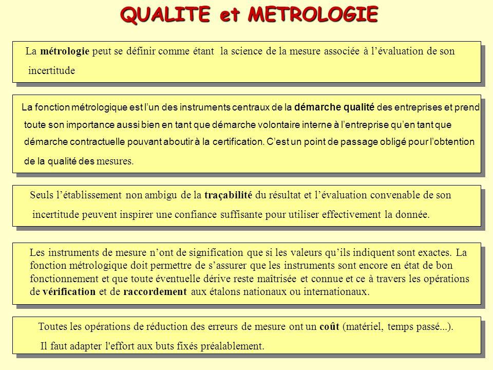 QUALITE et METROLOGIE La métrologie peut se définir comme étant la science de la mesure associée à l'évaluation de son.