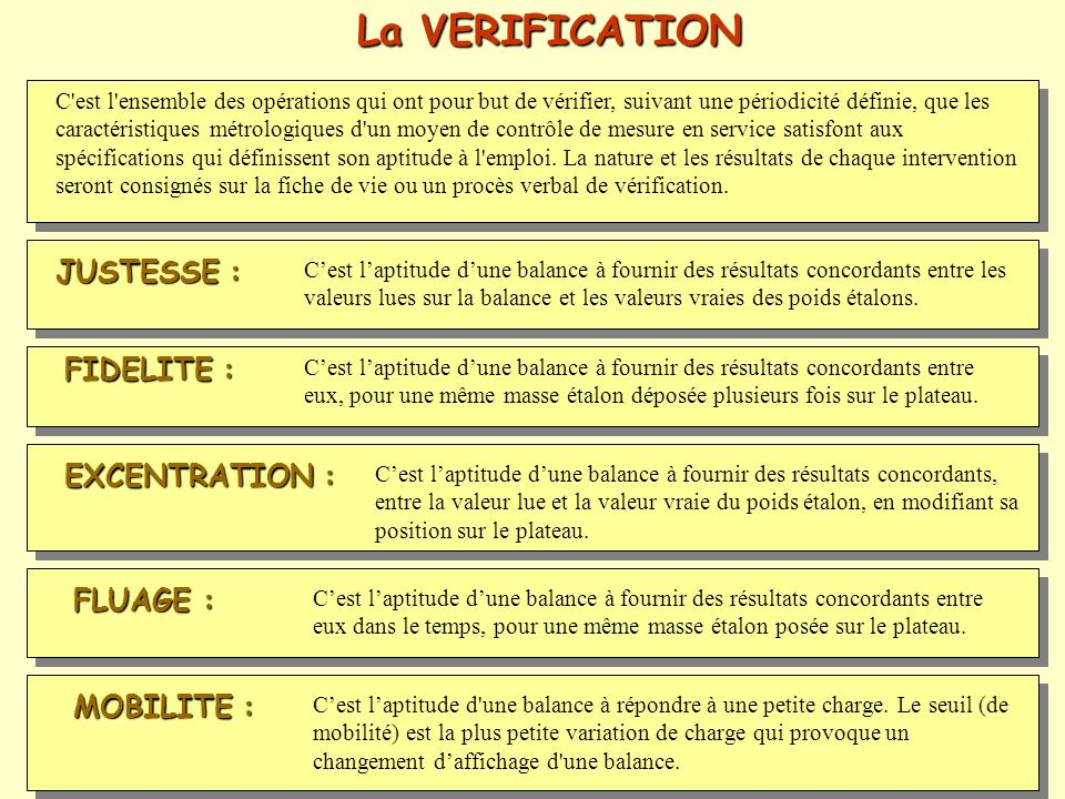 La VERIFICATION JUSTESSE : FIDELITE : EXCENTRATION : FLUAGE :