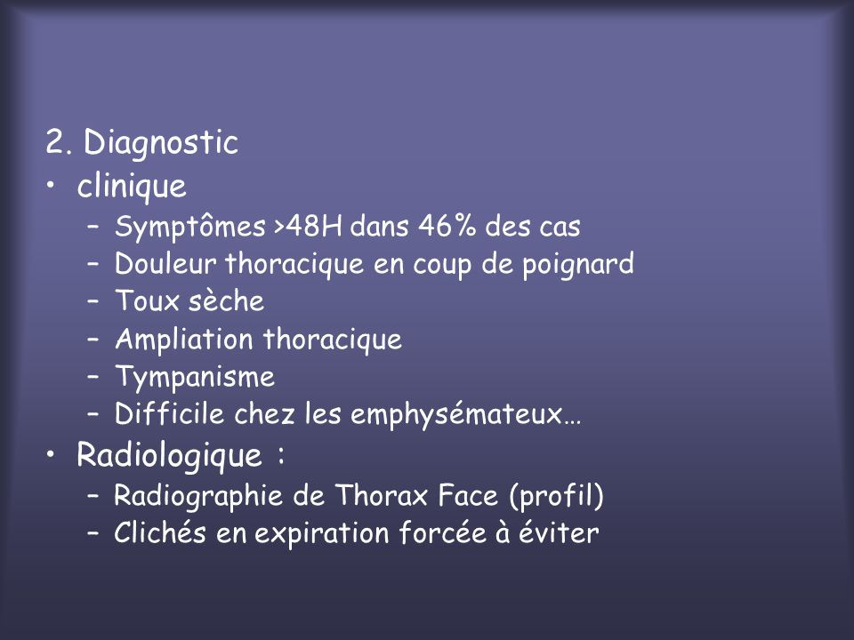 2. Diagnostic clinique Radiologique :