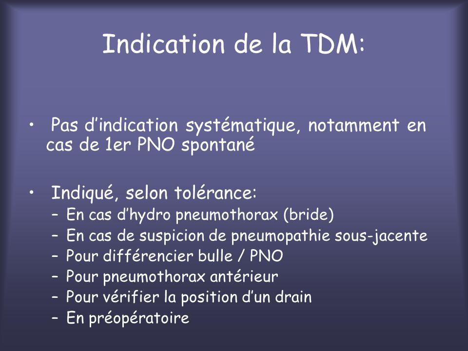 Indication de la TDM: Pas d'indication systématique, notamment en cas de 1er PNO spontané. Indiqué, selon tolérance: