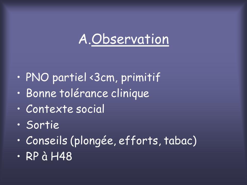 A.Observation PNO partiel <3cm, primitif Bonne tolérance clinique