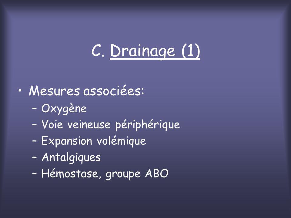 C. Drainage (1) Mesures associées: Oxygène Voie veineuse périphérique