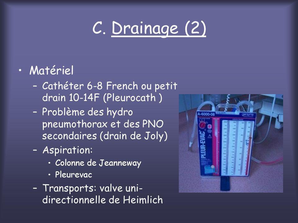 C. Drainage (2) Matériel. Cathéter 6-8 French ou petit drain 10-14F (Pleurocath )