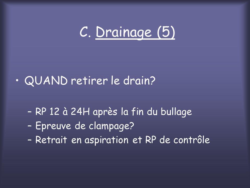 C. Drainage (5) QUAND retirer le drain