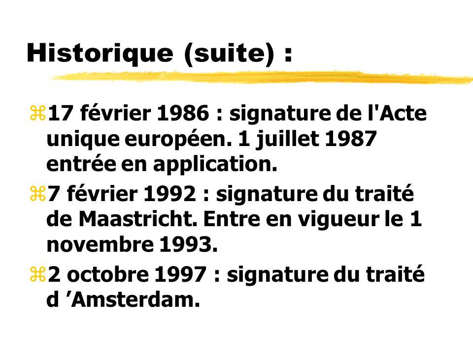 Historique (suite) : 17 février 1986 : signature de l Acte unique européen. 1 juillet 1987 entrée en application.