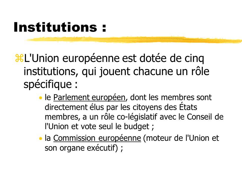 Institutions :L Union européenne est dotée de cinq institutions, qui jouent chacune un rôle spécifique :