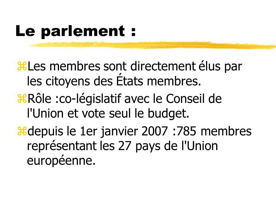 Le parlement :Les membres sont directement élus par les citoyens des États membres.