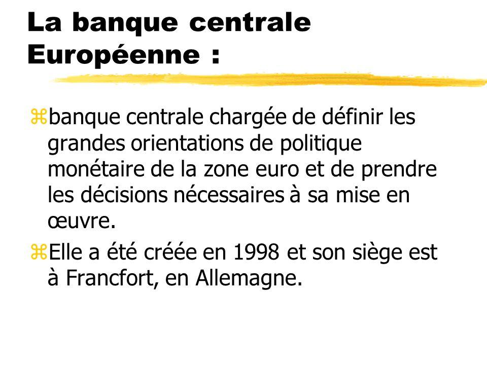 La banque centrale Européenne :