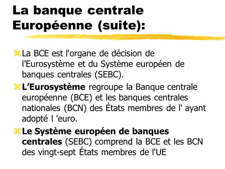 La banque centrale Européenne (suite):
