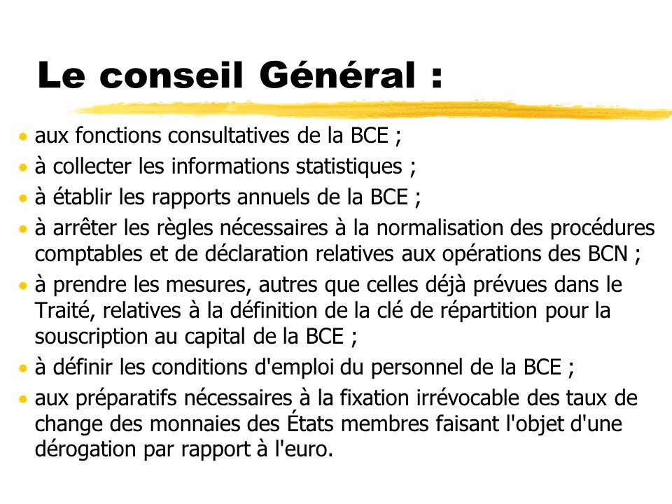 Le conseil Général : aux fonctions consultatives de la BCE ;