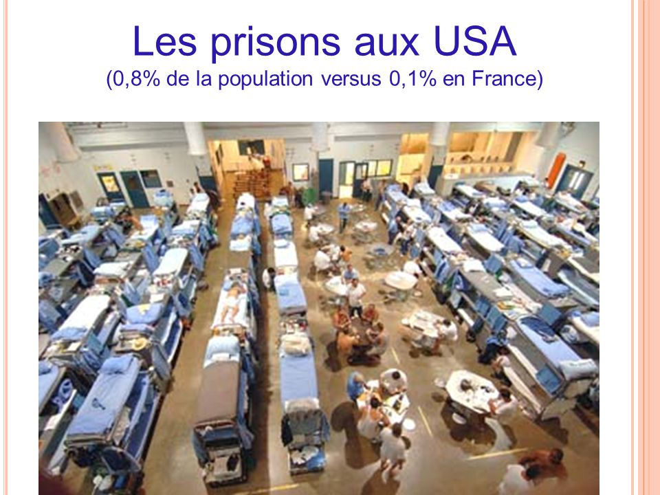 Les prisons aux USA (0,8% de la population versus 0,1% en France)