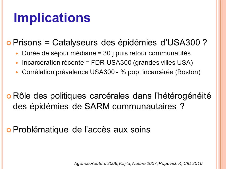 Implications Prisons = Catalyseurs des épidémies d'USA300