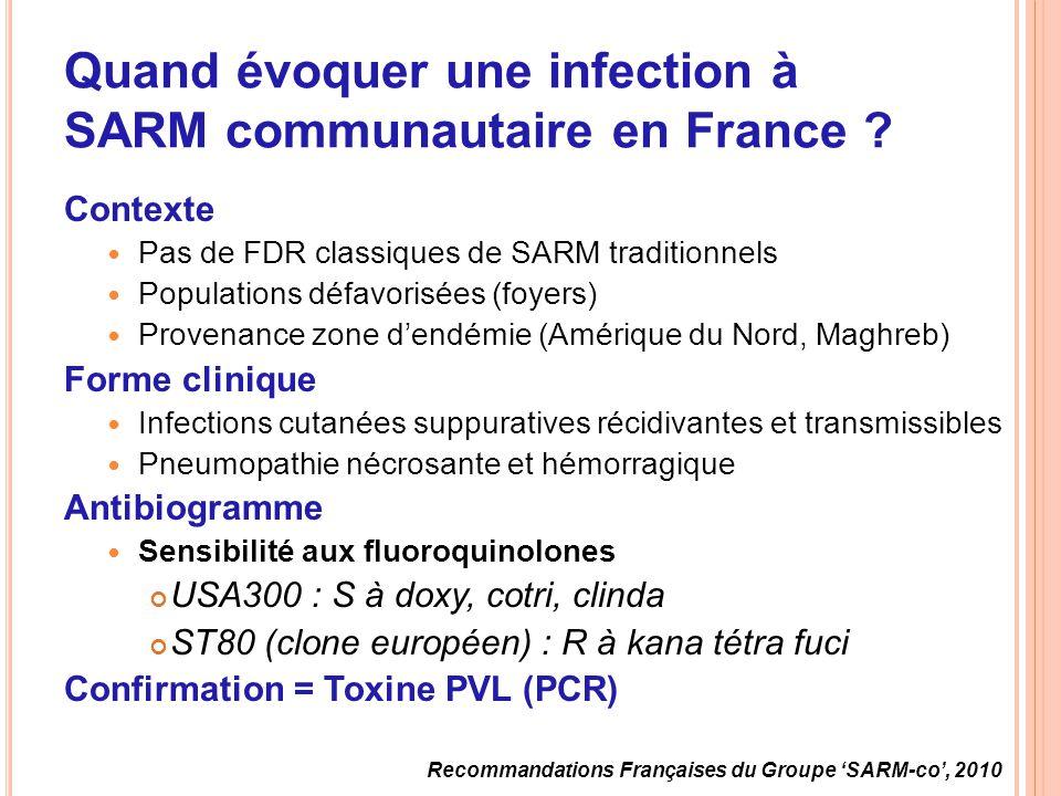 Quand évoquer une infection à SARM communautaire en France
