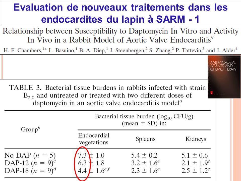 Evaluation de nouveaux traitements dans les endocardites du lapin à SARM - 1
