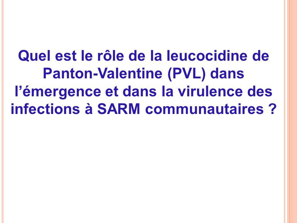 Quel est le rôle de la leucocidine de Panton-Valentine (PVL) dans l'émergence et dans la virulence des infections à SARM communautaires