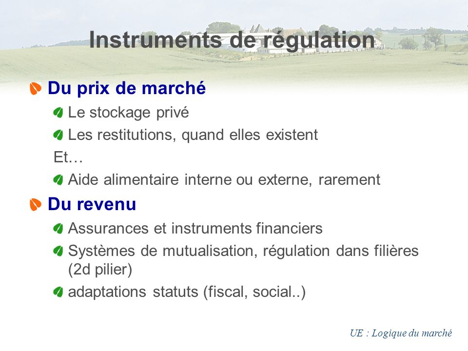 Instruments de régulation