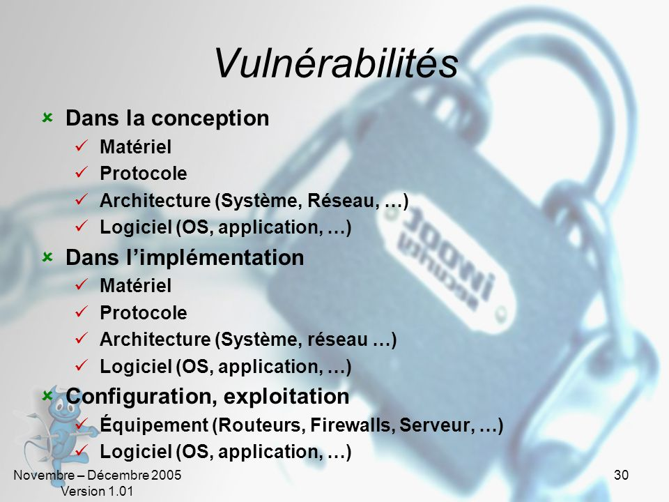 Vulnérabilités Dans la conception Dans l'implémentation