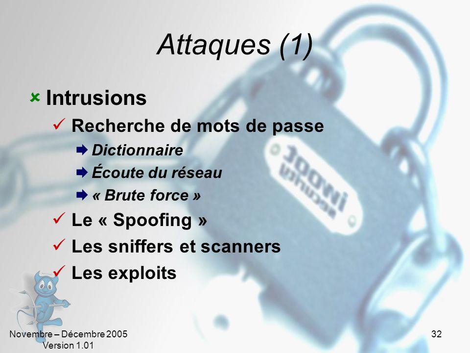 Attaques (1) Intrusions Recherche de mots de passe Le « Spoofing »