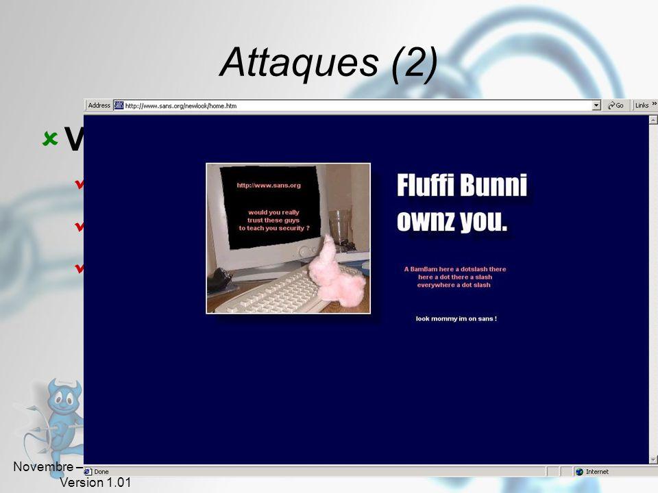 Attaques (2) Vandalisme Destruction de fichiers