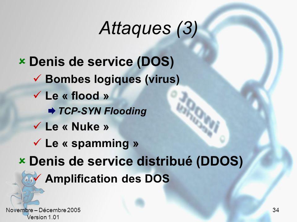 Attaques (3) Denis de service (DOS) Denis de service distribué (DDOS)