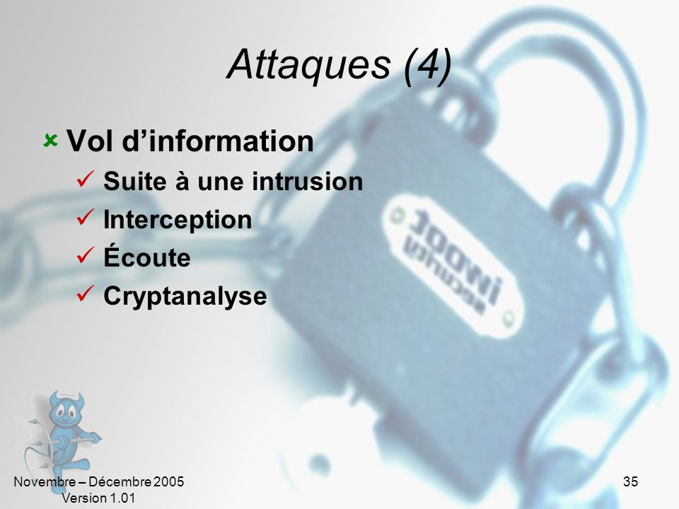 Attaques (4) Vol d'information Suite à une intrusion Interception