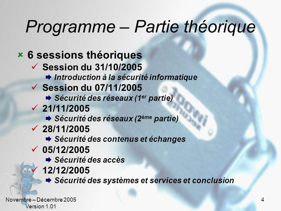 Programme – Partie théorique