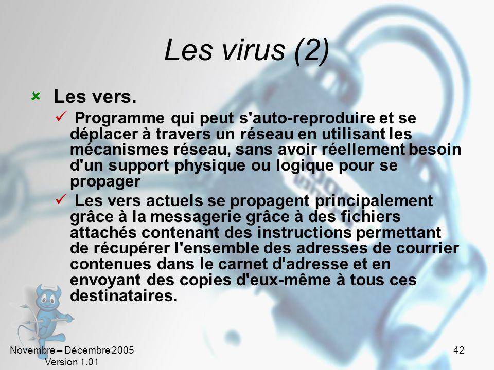 Les virus (2) Les vers.