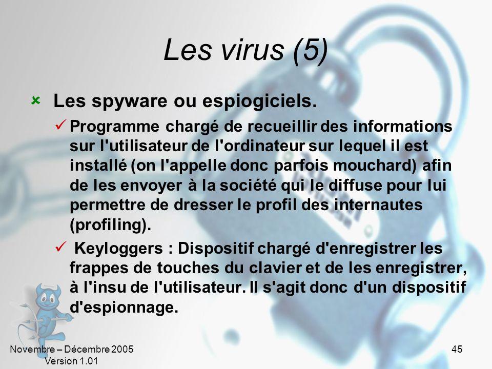 Les virus (5) Les spyware ou espiogiciels.