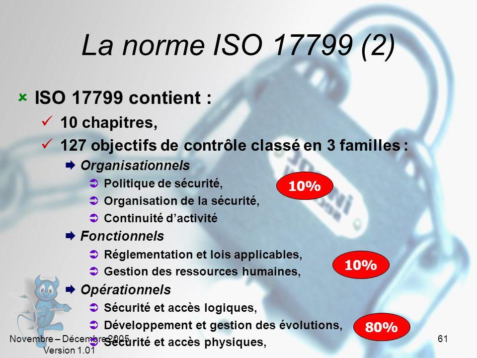 La norme ISO 17799 (2) ISO 17799 contient : 10 chapitres,