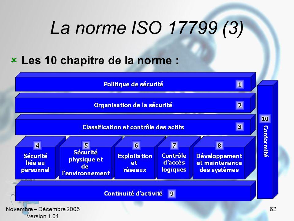 La norme ISO 17799 (3) Les 10 chapitre de la norme :