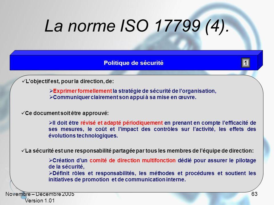 La norme ISO 17799 (4). Politique de sécurité 1