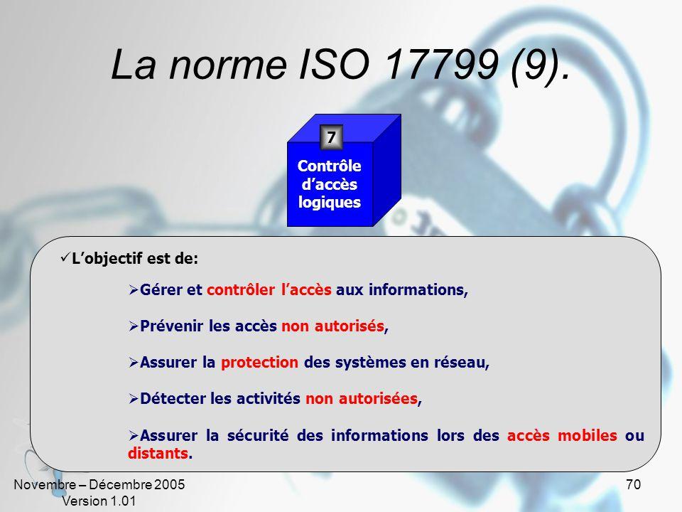 La norme ISO 17799 (9). 7 Contrôle d'accès logiques L'objectif est de: