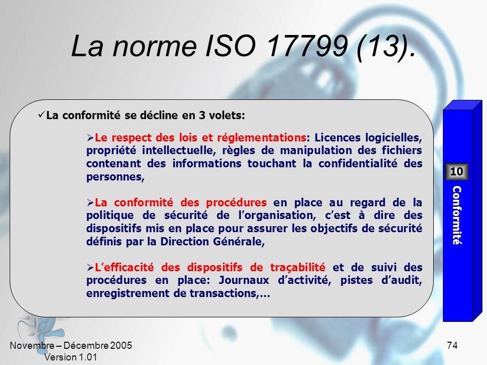 La norme ISO 17799 (13). La conformité se décline en 3 volets: