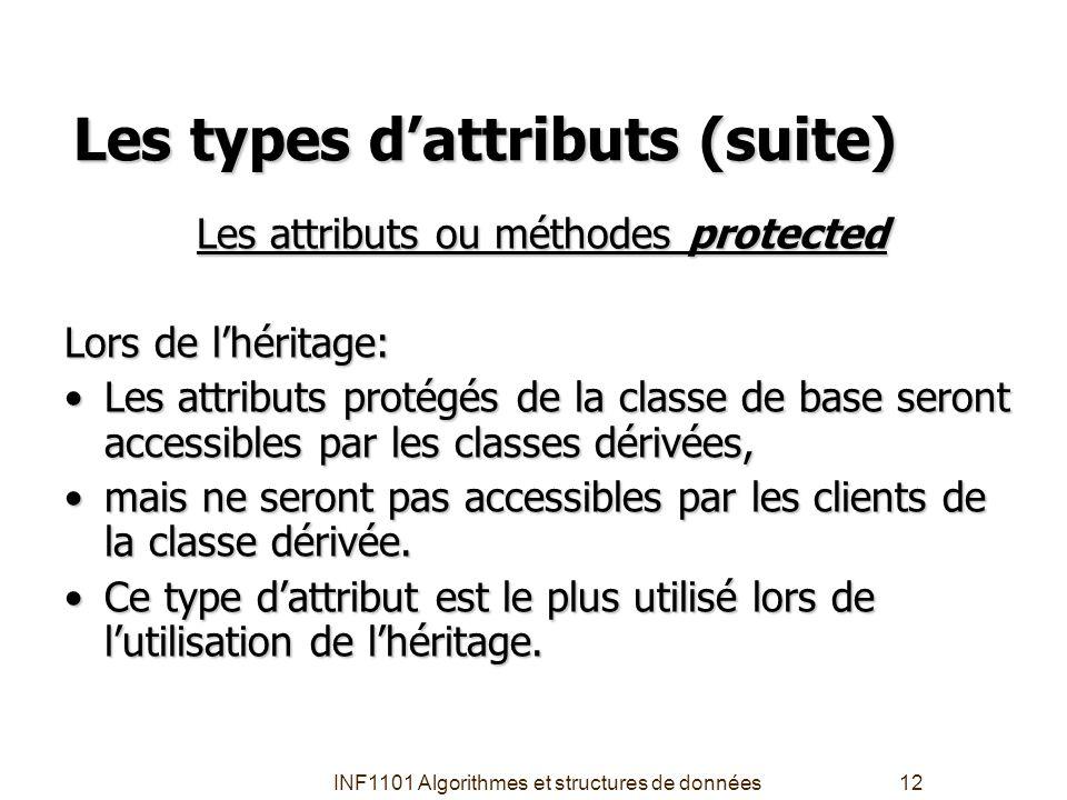 Les types d'attributs (suite)