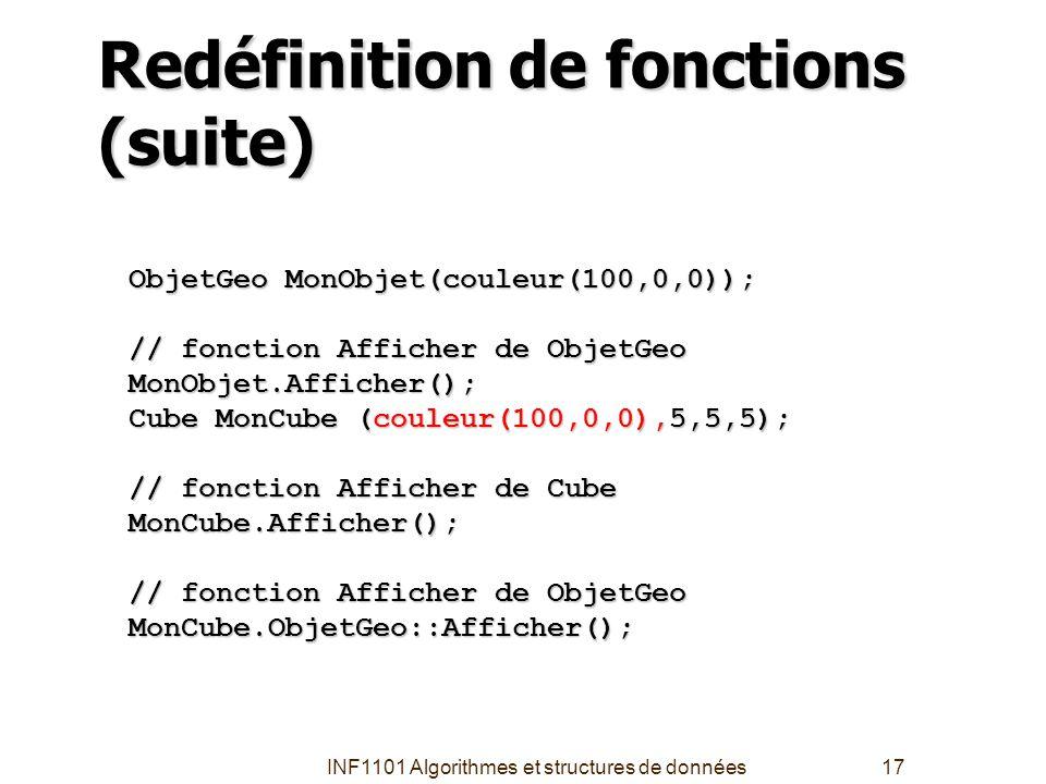 Redéfinition de fonctions (suite)