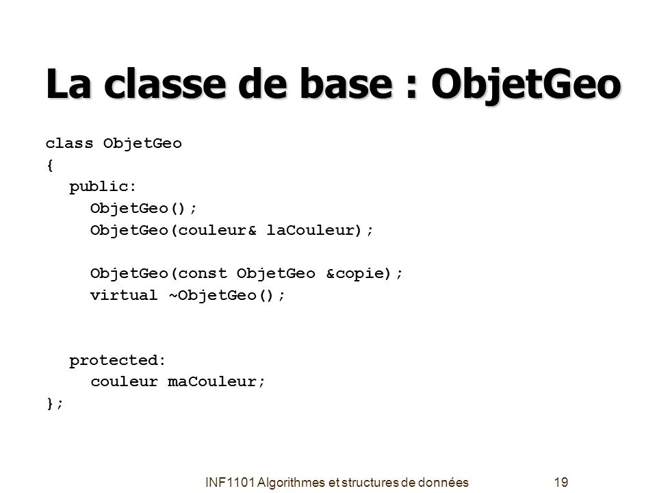 La classe de base : ObjetGeo