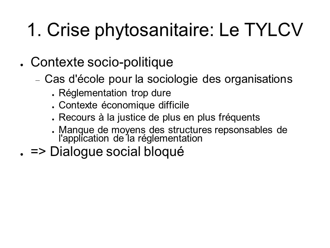 1. Crise phytosanitaire: Le TYLCV