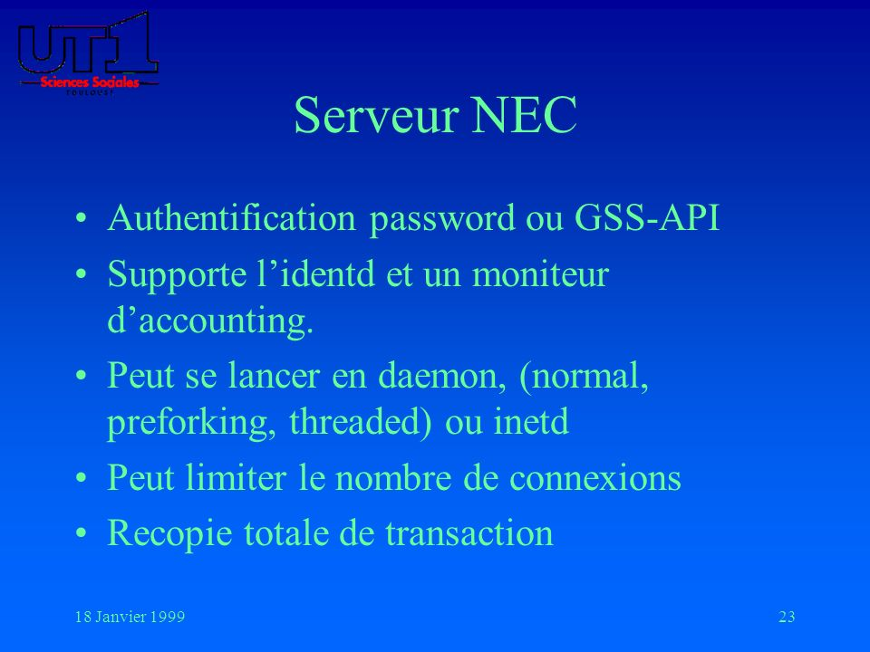 Serveur NEC Authentification password ou GSS-API