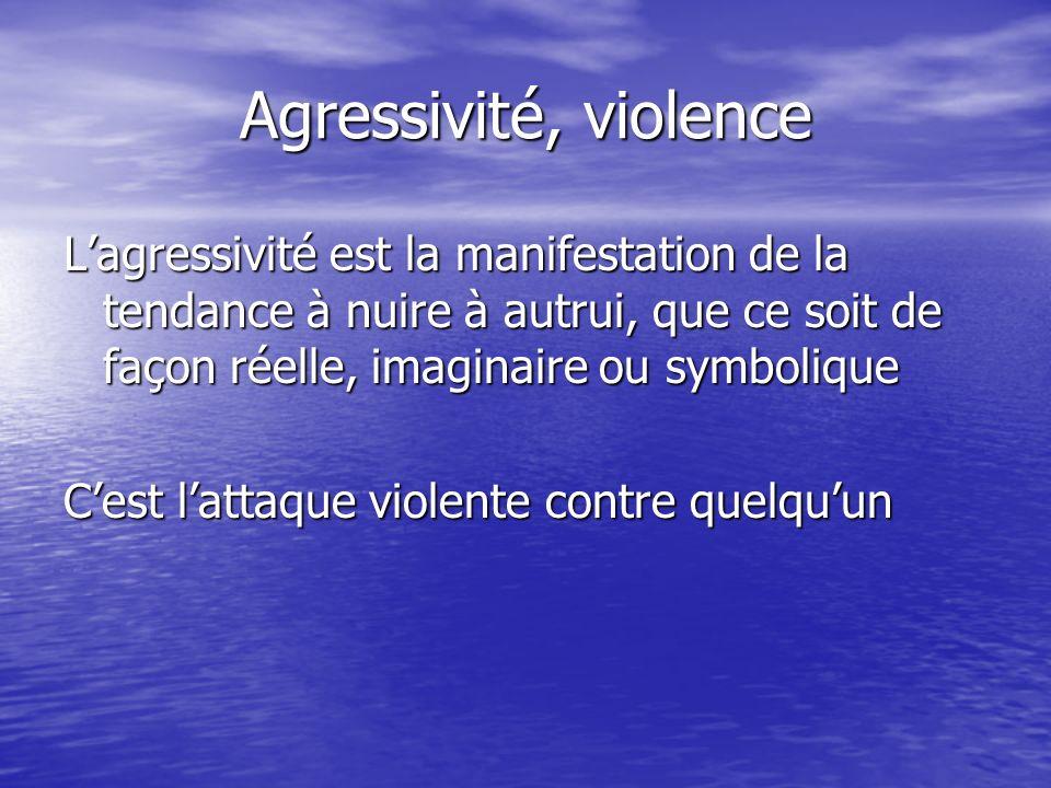 Agressivité, violence L'agressivité est la manifestation de la tendance à nuire à autrui, que ce soit de façon réelle, imaginaire ou symbolique.