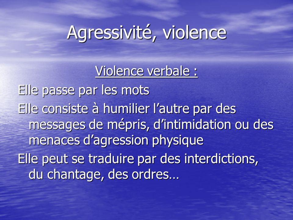 Agressivité, violence Violence verbale : Elle passe par les mots