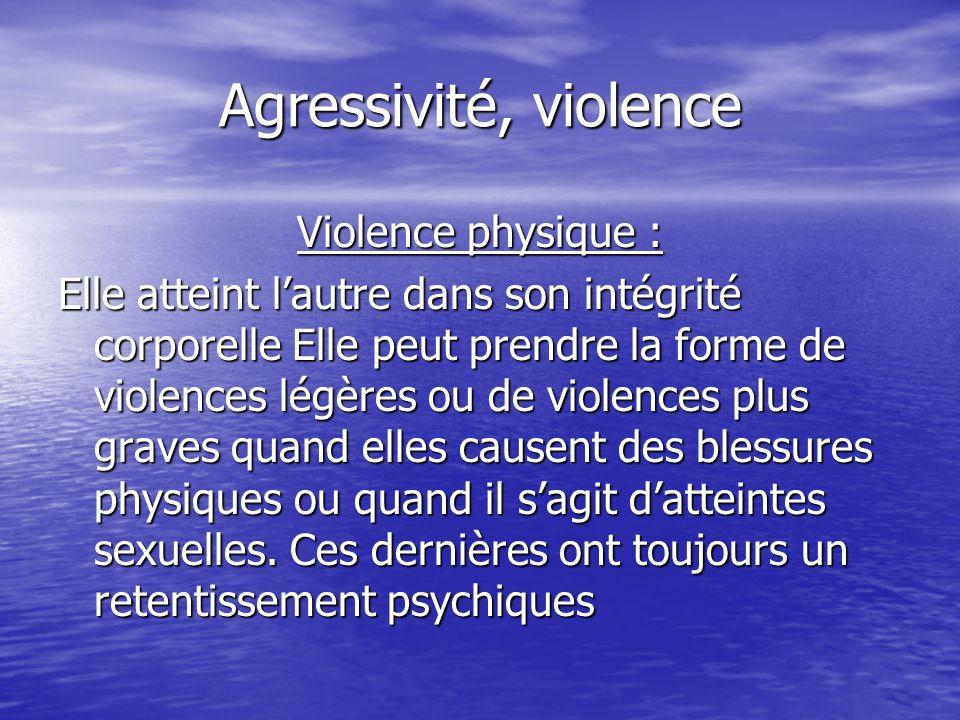 Agressivité, violence Violence physique :