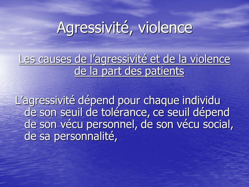 Les causes de l'agressivité et de la violence de la part des patients